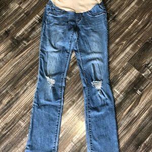 Destroyed Indigo Blue Maternity jeans